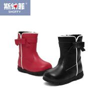 斯纳菲女童鞋宝宝鞋防滑婴儿学步鞋加绒加厚短靴1-2-3岁靴子秋冬