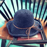 遮阳帽女夏天太阳帽大沿草帽出游沙滩帽可折叠出游休闲帽 可调节