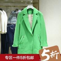 毛呢外套女2017冬装新款 韩版西装领纯色暗扣宽松中长款呢大衣
