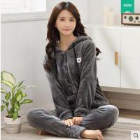 韩版纯色拉链款保暖法兰绒珊瑚绒睡衣女款加厚运动大码加绒家居服套装