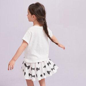 【尾品汇 5折直降】amii夏季女童休闲印花套装经典配色黑白2017新款简约儿童裙装