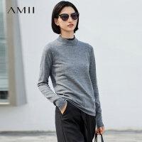 Amii极简100%巴素兰羊毛假两件毛衣女2019春季拼接半高领针织上衣