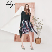 Lily2018春新款假两件不对称长袖收腰拼接印花连衣裙118110C7202