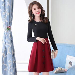 韩版连衣裙2018新款女装春装小个子新年冬装气质大气显瘦春款裙子