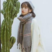 格子仿兔毛围巾女冬季韩版百搭女士日系英伦经典加厚长款针织围脖