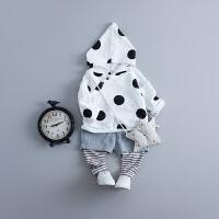婴儿春秋套装连帽0-1-2-3岁男宝宝秋装衣服婴幼儿外出服潮装