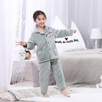 儿童秋冬季睡衣法兰绒女童宝宝男童家居服小孩男孩珊瑚绒套装