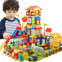 积木玩具孩子1-2岁女宝宝3-6周岁男童大颗粒儿童拼装城市塑料