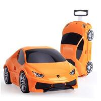 儿童卡通汽车行李箱包 宝宝拉杆箱旅行箱 橙色 18寸