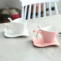 骨瓷陶瓷杯子创意心形情侣杯一对欧式咖啡杯套装结婚生日礼品 粉红+白色 泡沫盒包装