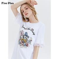 Five Plus2019新款女夏装迪士尼唐老鸭T恤款连衣裙女刺绣宽松短裙