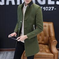 休闲韩版立领风衣男秋冬季修身个性潮牌中长款外套发型师个性披风