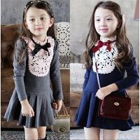 女童连衣裙春装新款韩国童装纯棉长袖学院风连衣裙儿童公主裙