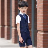 儿童礼服男花童礼服男短裤短袖马夹套装童装合唱演出表演服夏 蓝色格子马甲短款套装