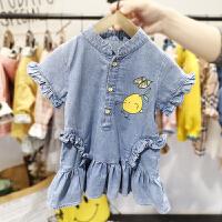 2-6岁女宝宝薄款连衣裙女婴儿春夏装韩版短袖裙子4女童水洗牛仔裙