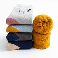 儿童袜子秋冬季毛圈袜纯棉女童中筒袜保暖中大童宝宝棉袜