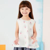 【2件2.5折:69元】马拉丁女童主题趣味印花满印时尚短袖衬衫