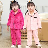 秋冬季儿童法兰绒睡衣女童珊瑚绒小孩宝宝公主加厚家居服女孩套装