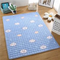 床褥子水洗榻榻米床垫保护垫薄滑床护垫1.35米1.5m1.8m床垫被T 天蓝色 1CM厚云梦