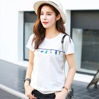 夏季韩版新品棉百搭动物绣花短袖T恤女宽松显瘦小衫上衣潮