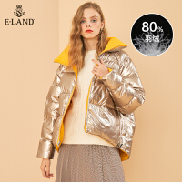 【到手价:888元】ELAND19冬新款糖果色短款亮面羽绒面包服双面穿女EEJD98914I