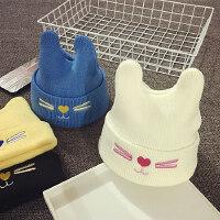 儿童毛线帽冬天保暖护耳针织帽男女童套头帽子秋宝宝帽子1-2岁潮