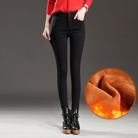黑色裤子女新款秋冬季加绒加厚打底裤外穿小脚铅笔裤加长高腰