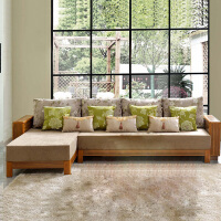 尚满家具 浅胡桃实木系列客厅家具中式布艺沙发套件 三人位沙发 贵妃转角沙发(分左右)