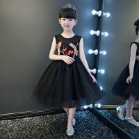 女童蓬蓬裙钢琴演出服 儿童礼服公主裙小花童走秀表演主持晚礼服秋 黑 色