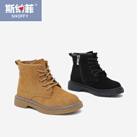 斯纳菲童鞋女童靴子 真皮短靴2017秋冬季新款儿童棉靴男童马丁靴