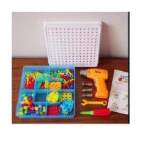 出口电钻拧螺丝拆装工具箱积木拼图电钻玩具益智拼图拼装组合积木