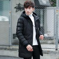 男士棉衣外套冬季新款冬装韩版潮流帅气中长款休闲棉袄厚 黑色 M
