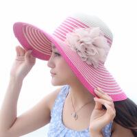 遮阳帽女夏季韩版潮花朵大沿草帽 女士夏天防晒沙滩帽子 均码(56-58cm)