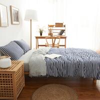 良品无印四件套全棉纯棉天竺棉被套被罩床单床笠款4件套床上用品 2.0m(6.6英尺)床 床笠款