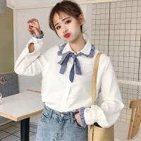 春装新款女装韩版显瘦条纹拼接百搭翻领蝴蝶结长袖木耳边衬衫上衣