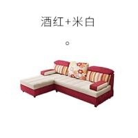 【品牌热卖】多功能沙发床乳胶沙发床1.8米1.5坐卧两用可折叠客厅双人小户型布艺沙发 红色 3米(1+3+贵妃+脚踏)