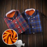 冬季男士加绒加厚格子保暖长袖衬衫休闲宽松大码免烫格子衬衣男潮