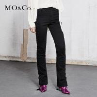 MOCO春季新品绑带中腰显瘦牛仔裤女裤子MA181PAT406 摩安珂