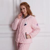 冬新款家居服女士睡衣套装三层加厚夹棉保暖舒适
