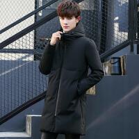 冬季男士加厚中长款羽绒服男2017新款加厚修身款青年学生连帽外套