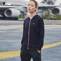 李宁卫衣女士2018新款训练系列开衫长袖外套连帽夏季针织运动服AWDN628