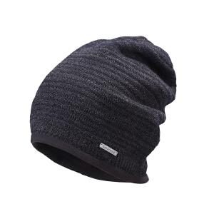 卡蒙帽子男冬天黑色毛线帽欧美加厚针织帽户外运动保暖羊毛套头帽 9112