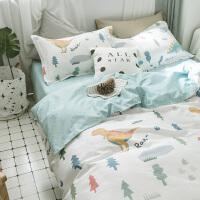 床上三件套1.2m棉小清新卡通床单被套四件套阿摩新品卡通套件