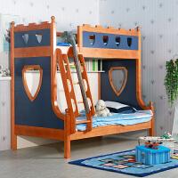 尚满 儿童房卧室家具上下高低子母床 地中海双层床实木框架儿童床 多功能上下床