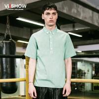 viishow夏装新款短袖衬衫 欧美时尚翻领格子短袖衬衣男 绿色