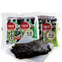 韩国进口海飘芥末味/原味海苔2g*8包 海牌即食寿司海苔片零食品