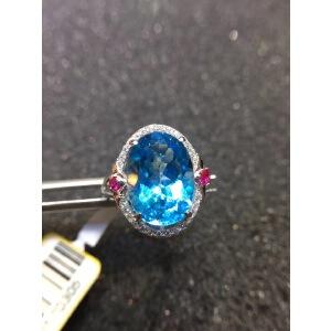 925银镶嵌天然石深艳瑞士蓝托帕石戒指