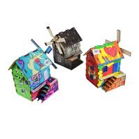 缤纷童年涂装木屋静态建筑模型DIY玩具拼装竞赛器材