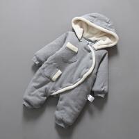 女婴儿连体衣服秋冬季0岁3个月宝宝冬装6新生儿加厚爬爬服外出服