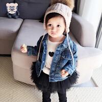 女婴儿童运动开衫牛仔外套装卫衣服0岁6个月1秋冬装3宝宝春秋装